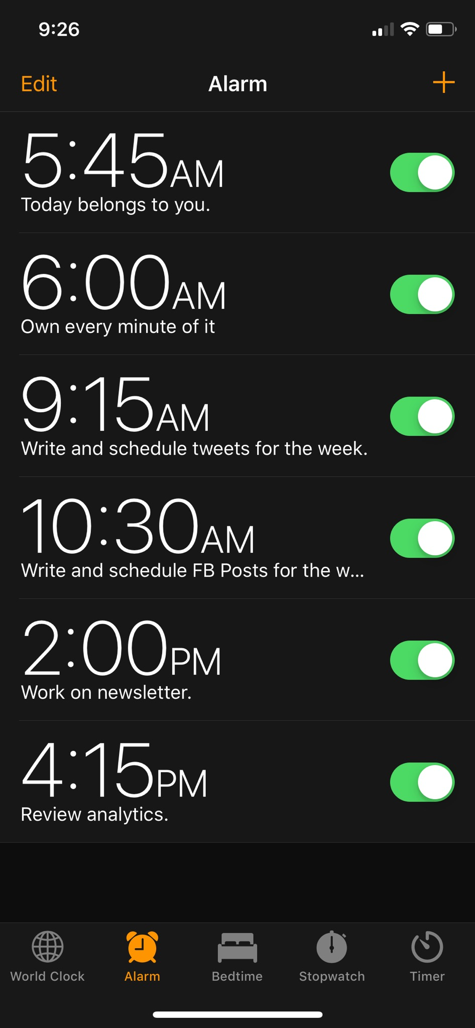 Screenshot of alarms set throughout the day with reminders for specific marketing tasks.