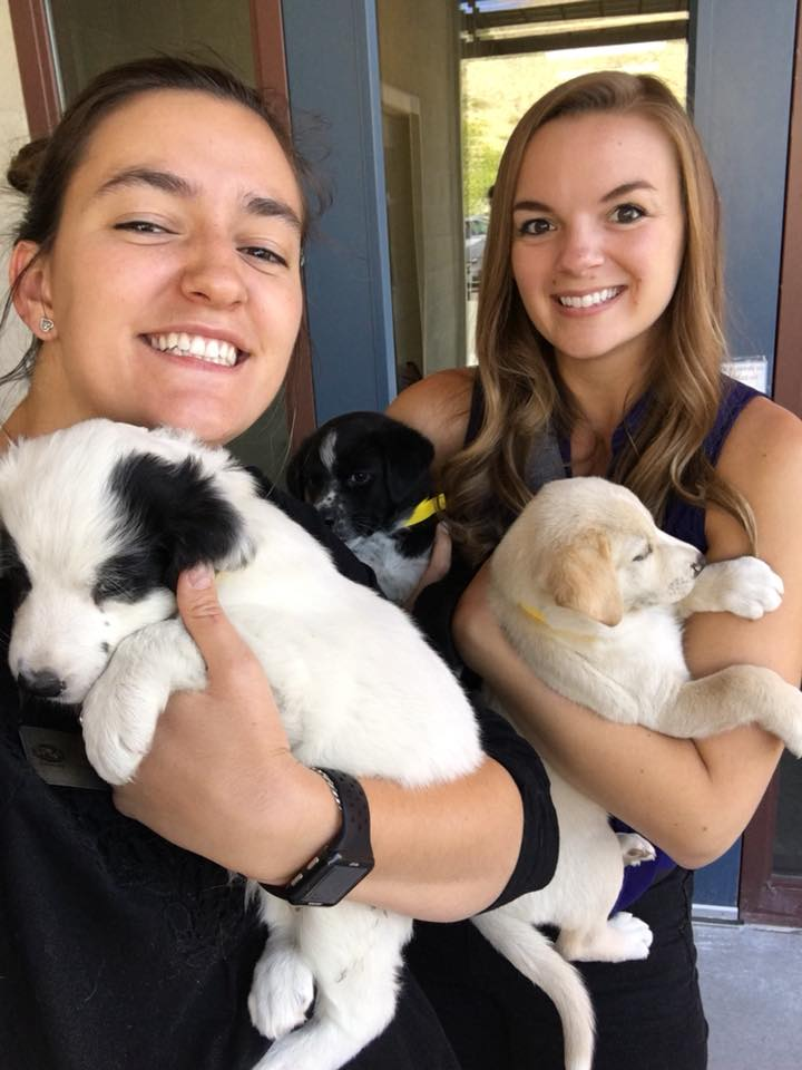 Nayla and Angela holding puppies