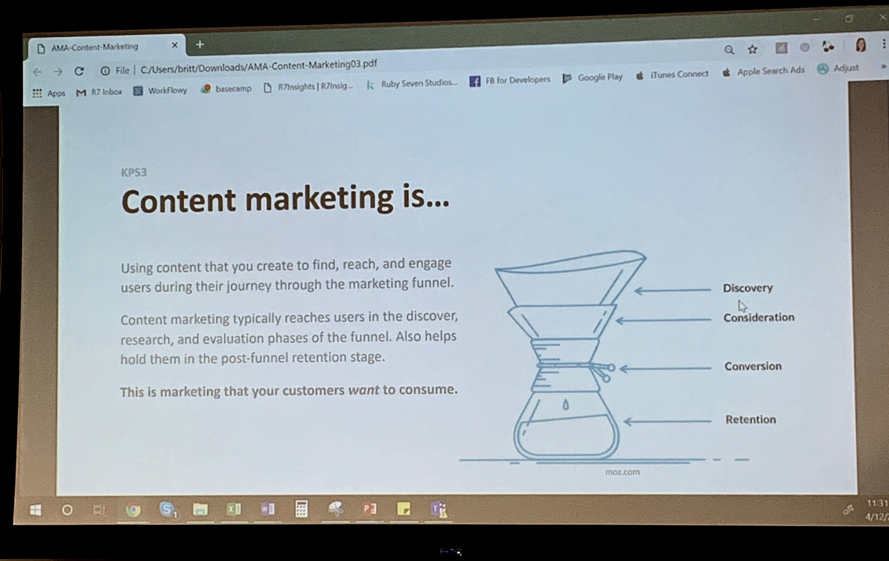 Powerpoint slide with information about content marketing.