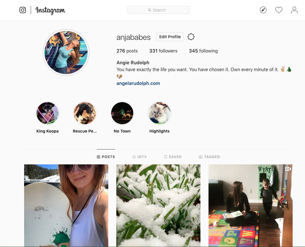 Profile and home page of an instagram account.