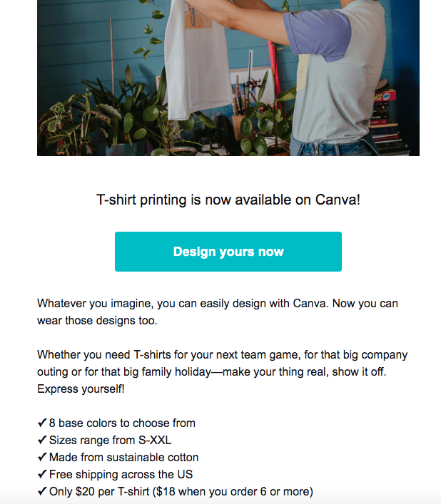 Screen shot of an email from Canva with an image at the top, a button call to action, follow by two sentences that are their own paragraphs and a bulleted list.