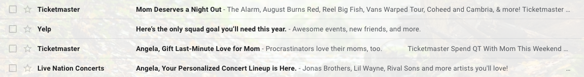 Screenshot of an email inbox with subject lines listed.