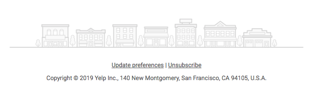 "Screenshot of the bottom of an email with ""Update Preferences"" and ""Unsubscribe"" listed."