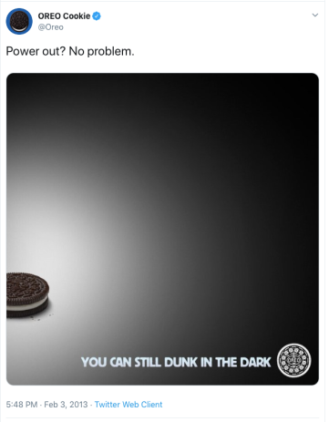 "Oreo lit up with darkness surrounding it and the words ""You can still dunk in the dark"" on it."