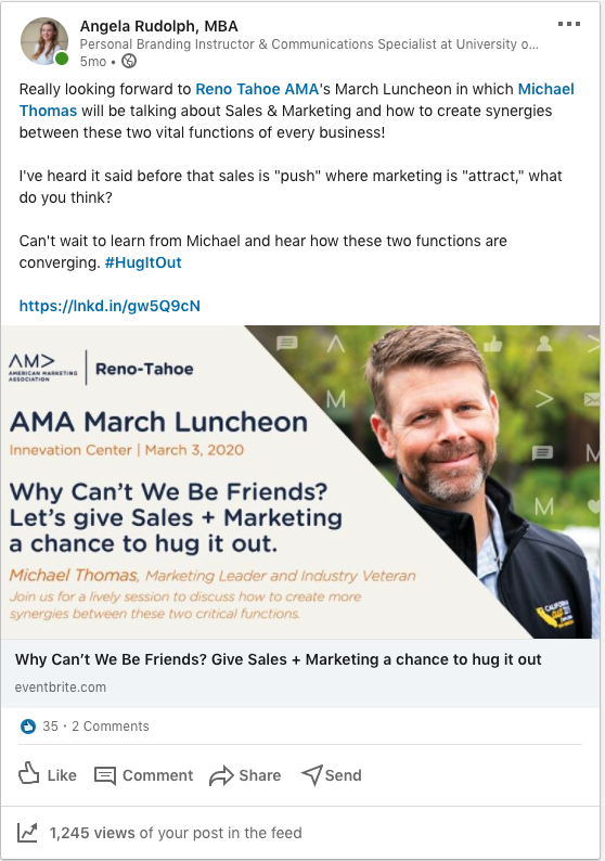 Screenshot of a LinkedIn post in which an event is linked and the presenter is tagged.